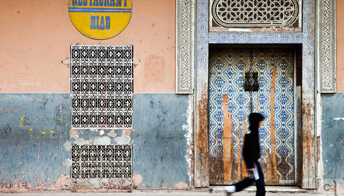 The Marrakech souk and the Atlas