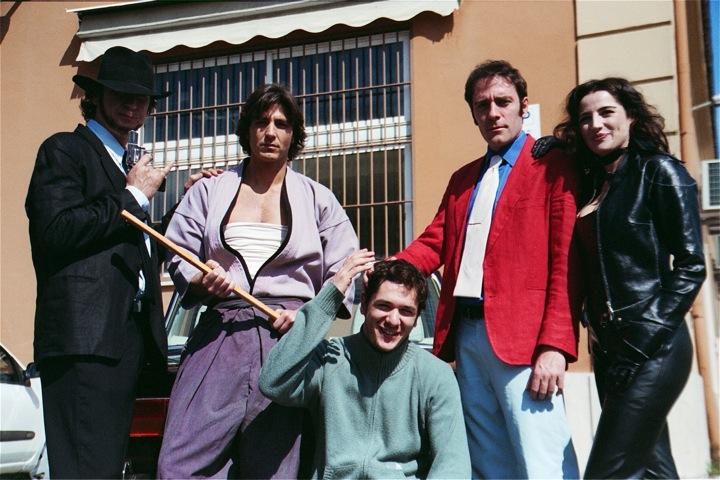 """Il cast principale di """"Basette"""" : da sinistra Marco Giallini, Daniele Liotti, il regista, Valerio Mastrandrea e Luisa Ranieri."""