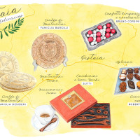 Part of a series of illustrations depicting the sweet culinary wonders of Pistoia, Italy. Food illustration with emphasis on realism, color vibrance and texture. Mixed media technique involving watercolors, colored pencils, soft pastels and graphite by Miriam Figueras.