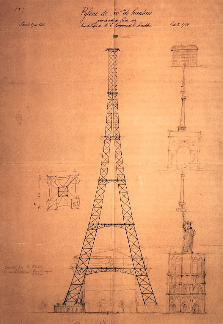 First sketch of the 300-metre Eiffel Tower by engineer Maurice Koechlin, 1884 - Paris