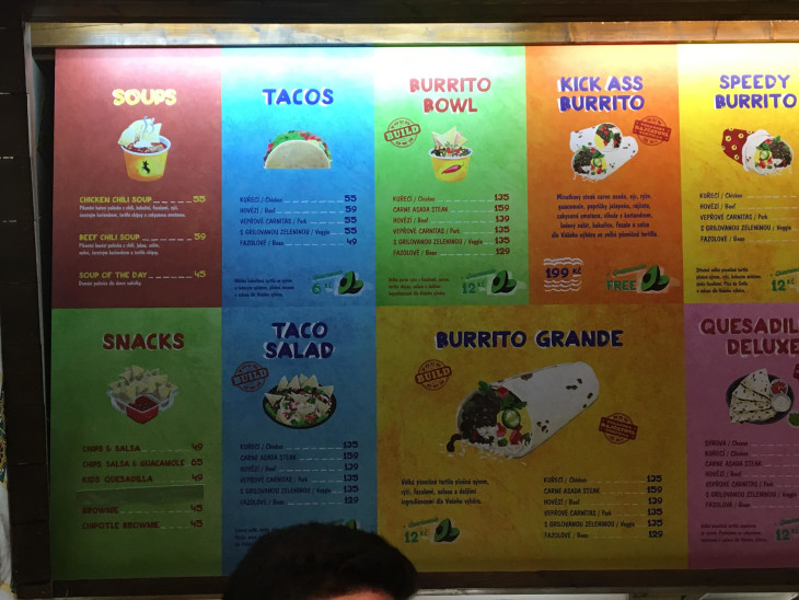 menu at pretty buritto restaurant